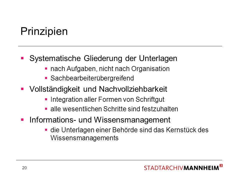20 Prinzipien Systematische Gliederung der Unterlagen nach Aufgaben, nicht nach Organisation Sachbearbeiterübergreifend Vollständigkeit und Nachvollzi