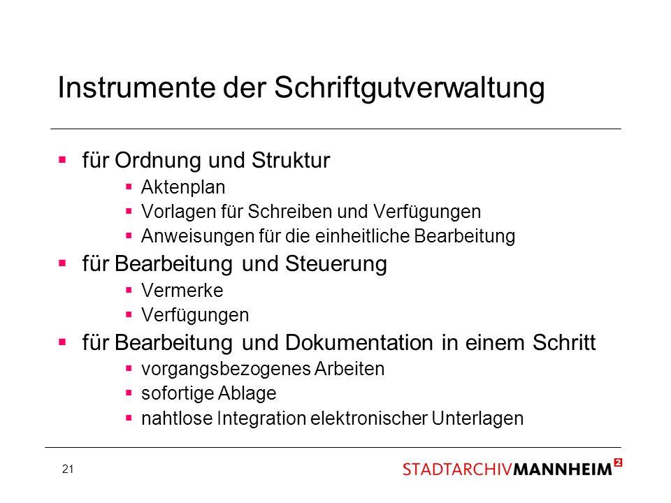 21 Instrumente der Schriftgutverwaltung für Ordnung und Struktur Aktenplan Vorlagen für Schreiben und Verfügungen Anweisungen für die einheitliche Bea