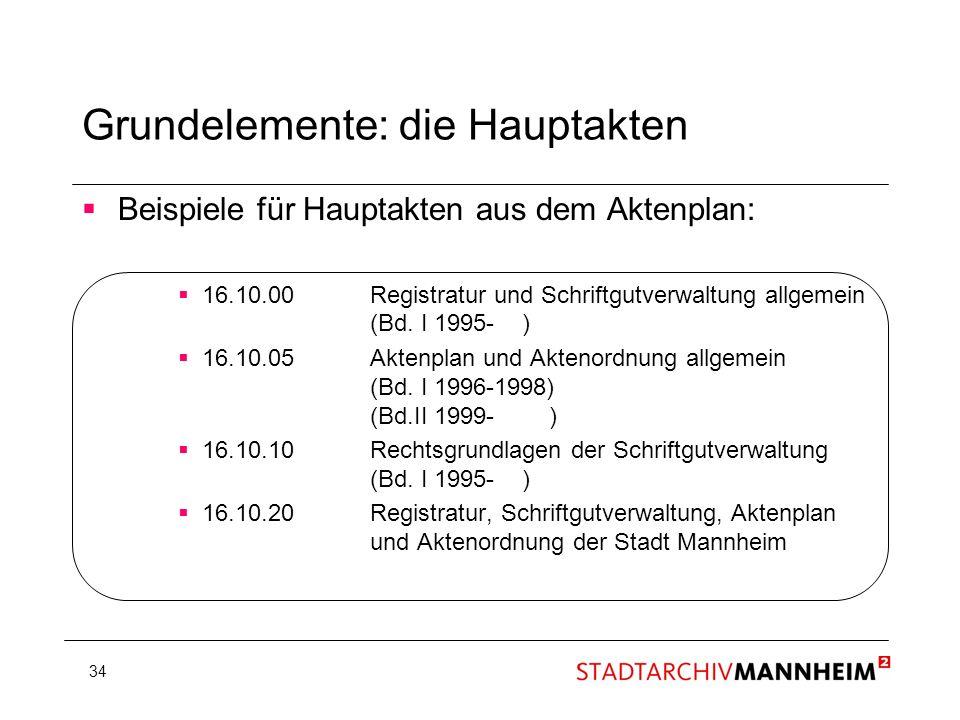 34 Beispiele für Hauptakten aus dem Aktenplan: 16.10.00Registratur und Schriftgutverwaltung allgemein (Bd. I 1995- ) 16.10.05 Aktenplan und Aktenordnu