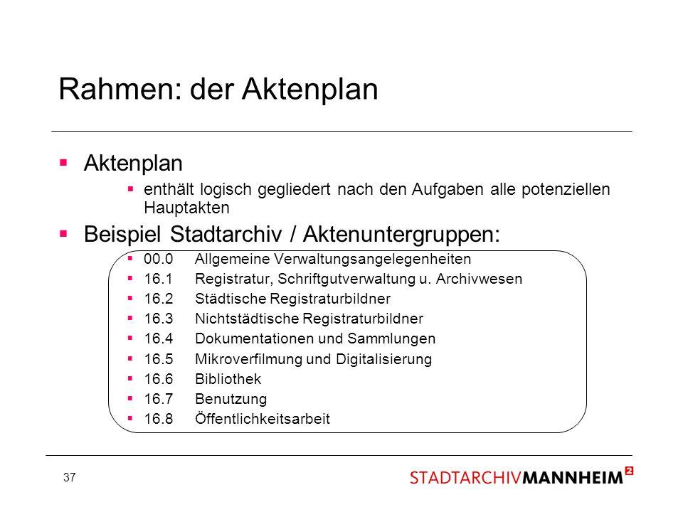 37 Rahmen: der Aktenplan Aktenplan enthält logisch gegliedert nach den Aufgaben alle potenziellen Hauptakten Beispiel Stadtarchiv / Aktenuntergruppen: