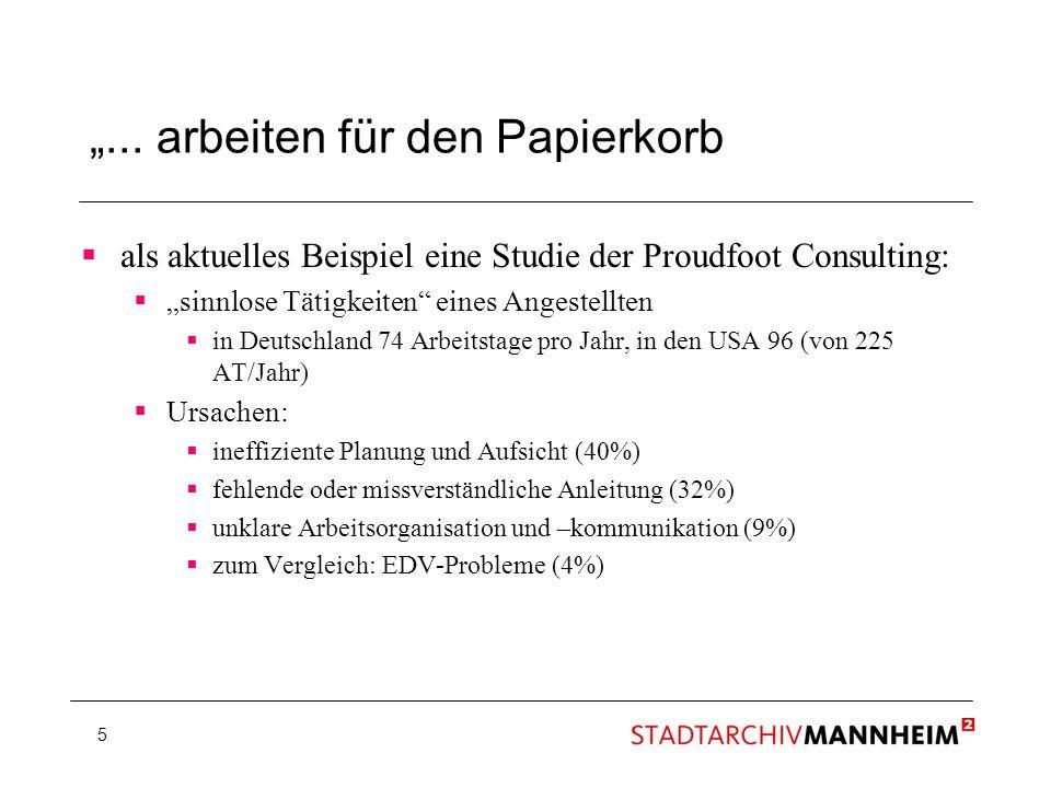 5... arbeiten für den Papierkorb als aktuelles Beispiel eine Studie der Proudfoot Consulting: sinnlose Tätigkeiten eines Angestellten in Deutschland 7