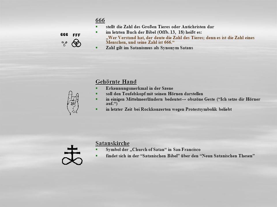 666 stellt die Zahl des Großen Tieres oder Antichristen dar im letzten Buch der Bibel (Offb. 13, 18) heißt es: Wer Verstand hat, der deute die Zahl de