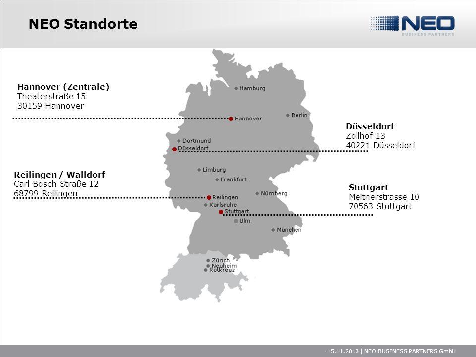 15.11.2013 | NEO BUSINESS PARTNERS GmbH NEO Standorte Hannover (Zentrale) Theaterstraße 15 30159 Hannover Düsseldorf Zollhof 13 40221 Düsseldorf Reili