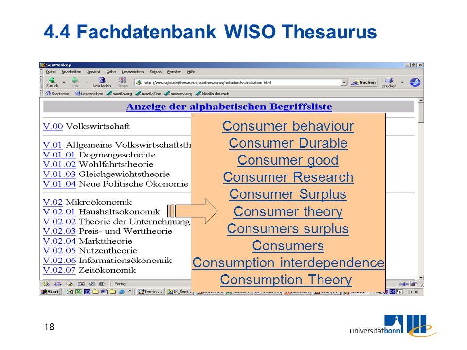 17 4.4 Fachdatenbank WISO Wirtschaftsw.