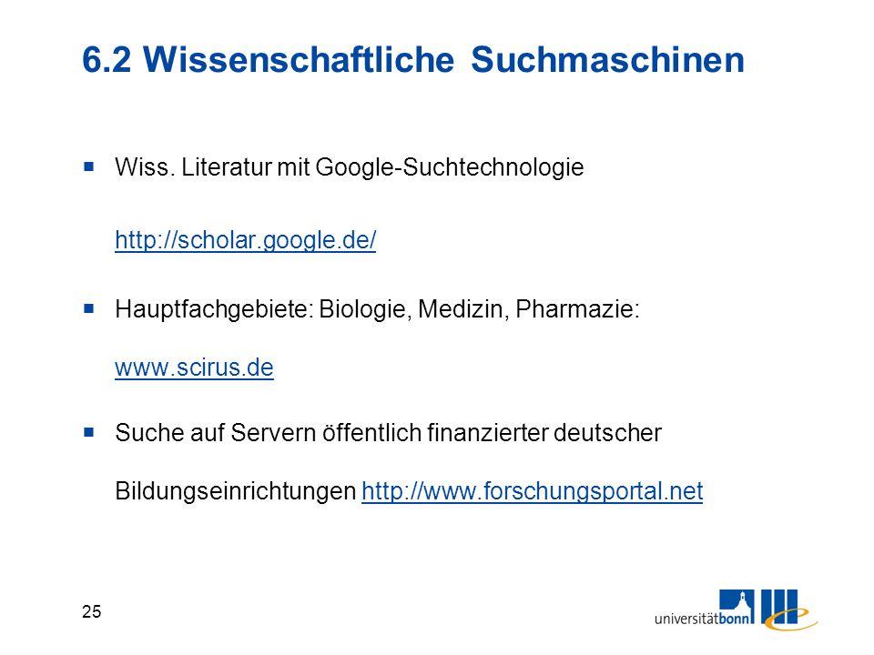 24 6.1 Fachportale für Ökonomen im WWW Virtuelle Fachbibliothek (Internetquellen und Kataloge) www.econbiz.de www.econbiz.de Fachinformationsseiten ei