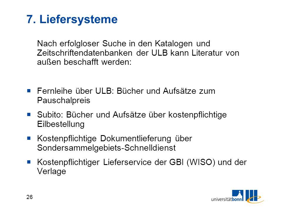 25 6.2 Wissenschaftliche Suchmaschinen Wiss. Literatur mit Google-Suchtechnologie http://scholar.google.de/ http://scholar.google.de/ Hauptfachgebiete