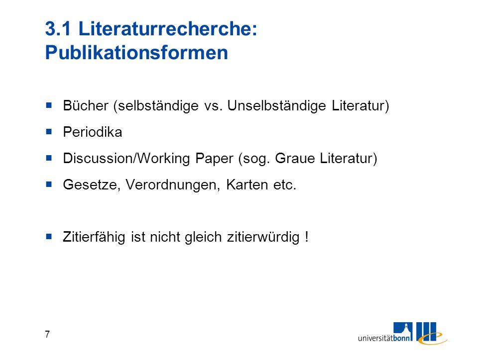 6 2. Literaturversorgung im Bibliothekssystem ULB Hauptbibliothek Dezentrale Bibliotheken Staatswiss. Seminar (Fachbibliothek) Institutsbibliotheken (
