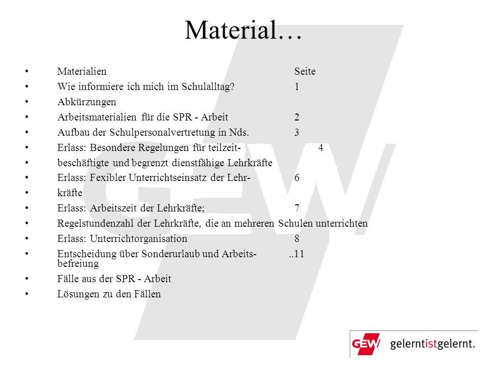 Material… Materialien Seite Wie informiere ich mich im Schulalltag? 1 Abkürzungen Arbeitsmaterialien für die SPR - Arbeit 2 Aufbau der Schulpersonalve