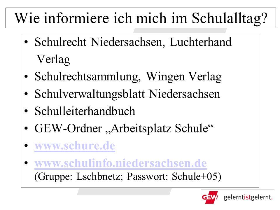 Wie informiere ich mich im Schulalltag? Schulrecht Niedersachsen, Luchterhand Verlag Schulrechtsammlung, Wingen Verlag Schulverwaltungsblatt Niedersac
