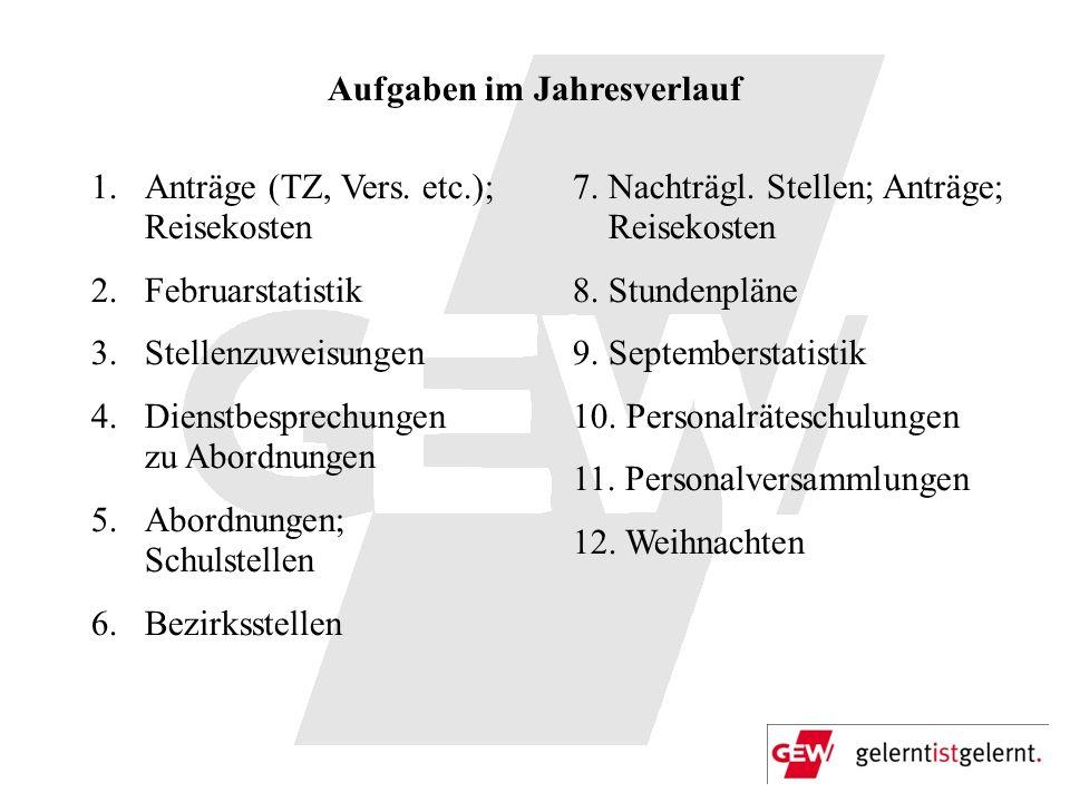 Aufgaben im Jahresverlauf 1.Anträge (TZ, Vers. etc.); Reisekosten 2.Februarstatistik 3.Stellenzuweisungen 4.Dienstbesprechungen zu Abordnungen 5.Abord