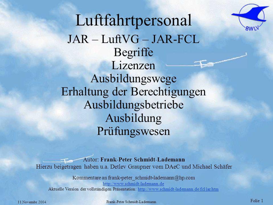 Folie 42 11.Novembr.2004 Frank-Peter Schmidt-Lademann Flugzeiten Anrechenbare Flugzeiten JAR-FCL 1.080 (c) Flugzeiten als verantwortlicher Pilot Flugzeiten als Sicherheitspilot (JAR-FCL 1.035 (e) ) Flugzeiten als Copilot können nur für Flüge angerechnet werden, bei denen eine Mindestbesatzung von 2 Piloten vorgeschrieben ist.