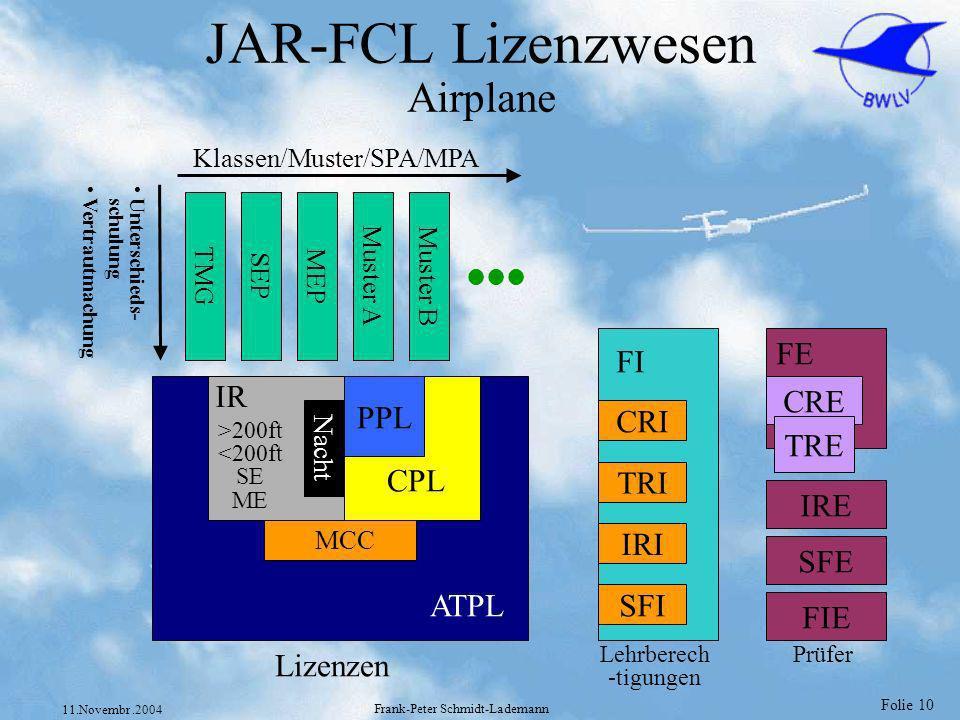 Folie 10 11.Novembr.2004 Frank-Peter Schmidt-Lademann JAR-FCL Lizenzwesen Airplane ATPL CPL PPL Nacht IR MCC >200ft <200ft SE ME TMG SEP MEP Muster A