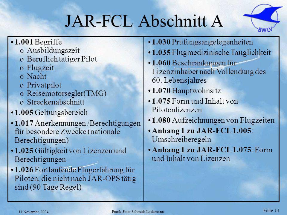 Folie 14 11.Novembr.2004 Frank-Peter Schmidt-Lademann JAR-FCL Abschnitt A 1.001 Begriffe oAusbildungszeit oBeruflich tätiger Pilot oFlugzeit oNacht oP