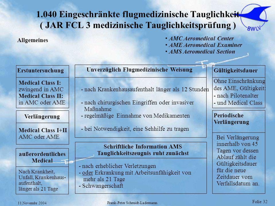 Folie 32 11.Novembr.2004 Frank-Peter Schmidt-Lademann 1.040 Eingeschränkte flugmedizinische Tauglichkeit ( JAR FCL 3 medizinische Tauglichkeitsprüfung