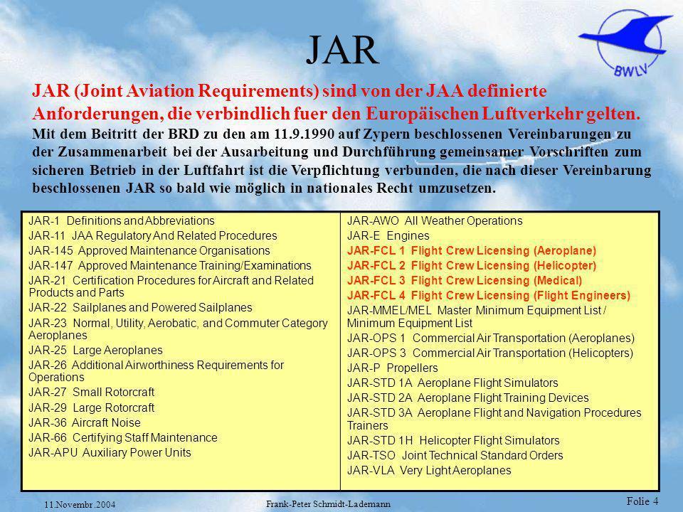 Folie 5 11.Novembr.2004 Frank-Peter Schmidt-Lademann LuftVG - JAR LuftPersV LuftVZO JAR-FCL 1-4 Deutsch §5 PPL JAR-FCL 1 JAR-FCL 1.125 JAR-FCL 1.135 §3 Nachtflug JAR-FCL 1 §88 Lehrberechtigung JAR-FCL 1,2,4 §20 Erlaubnisse Flugzeugführer Hubschrauberführer Flugingenieure usw JAR-FCL 1,2,3,4 §24a Tauglichkeits- Zeugnisse JAR-FCL 3 Beispiele der Verzahnung JAR und LuftVG Explizite Verweise von den Luftverkehrsgesetzen in die JAR und umgekehrt.