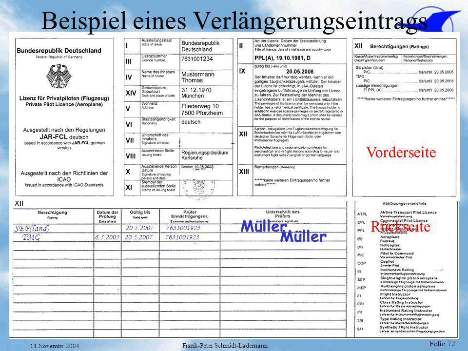Folie 72 11.Novembr.2004 Frank-Peter Schmidt-Lademann Beispiel eines Verlängerungseintrags Vorderseite Rückseite SEP(land) 20.5.2007 7631001923 Müller