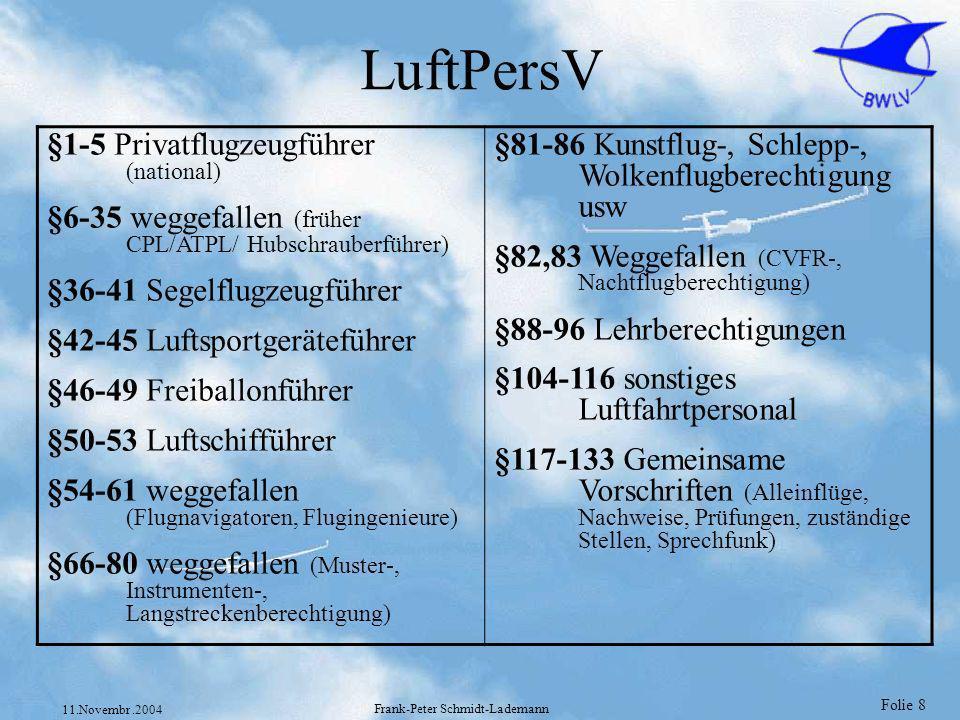 Folie 9 11.Novembr.2004 Frank-Peter Schmidt-Lademann JAR-FCL 1 JAR-FCL 1 deutsch LIZENZIERUNG VON PILOTEN (Flugzeug) TEIL 1 – BESTIMMUNGEN ABSCHNITT A – ALLGEMEINE BESTIMMUNGEN ABSCHNITT B – FLUGSCHÜLER (Flugzeug) ABSCHNITT C – PRIVATPILOTENLIZENZ (Flugzeug) - PPL(A) ABSCHNITT D – BERUFSPILOTENLIZENZ (Flugzeug) - CPL(A) ABSCHNITT E – INSTRUMENTENFLUGBERECHTIGUNG (Flugzeug) - IR(A) ABSCHNITT F – KLASSEN- UND MUSTERBERECHTIGUNGEN (Flugzeug) ABSCHNITT G – VERKEHRSPILOTENLIZENZ (Flugzeug) - ATPL(A) ABSCHNITT H – LEHRBERECHTIGUNGEN (Flugzeug) ABSCHNITT I – PRÜFER (Flugzeug) ABSCHNITT J – ERFORDERLICHE THEORETISCHE KENNTNISSE UND VERFAHREN FÜR DIE DURCHFÜHRUNG VON THEORETISCHEN PRÜFUNGEN FÜR CPL, ATPL UND INSTRUMENTENFLUGBERECHTIGUNGEN