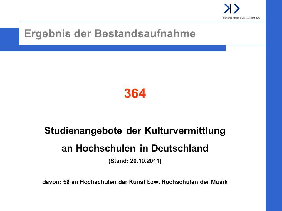 Ergebnis der Bestandsaufnahme 364 Studienangebote der Kulturvermittlung an Hochschulen in Deutschland (Stand: 20.10.2011) davon: 59 an Hochschulen der