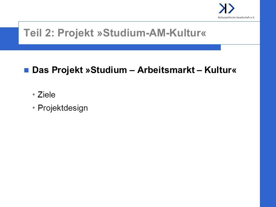 Teil 2: Projekt »Studium-AM-Kultur« Das Projekt »Studium – Arbeitsmarkt – Kultur« Ziele Projektdesign
