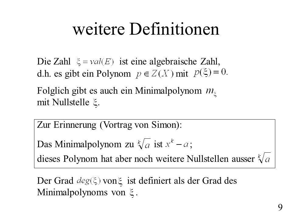weitere Definitionen Die Zahlist eine algebraische Zahl, d.h. es gibt ein Polynommit Folglich gibt es auch ein Minimalpolynom mit Nullstelle. Der Grad