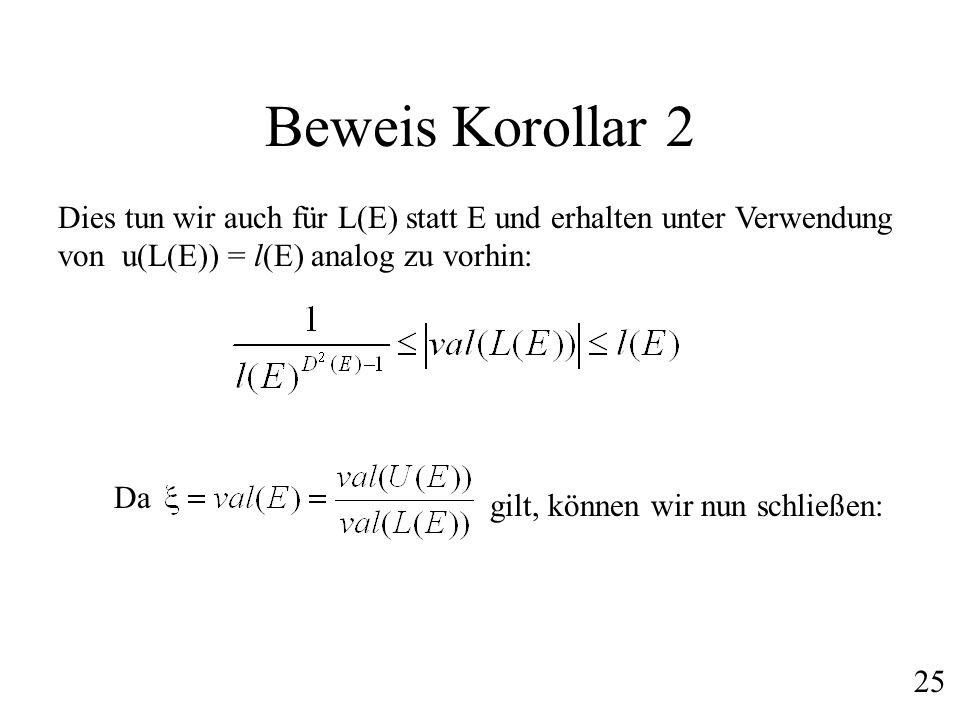 Beweis Korollar 2 Dies tun wir auch für L(E) statt E und erhalten unter Verwendung von u(L(E)) = l(E) analog zu vorhin: Da gilt, können wir nun schlie