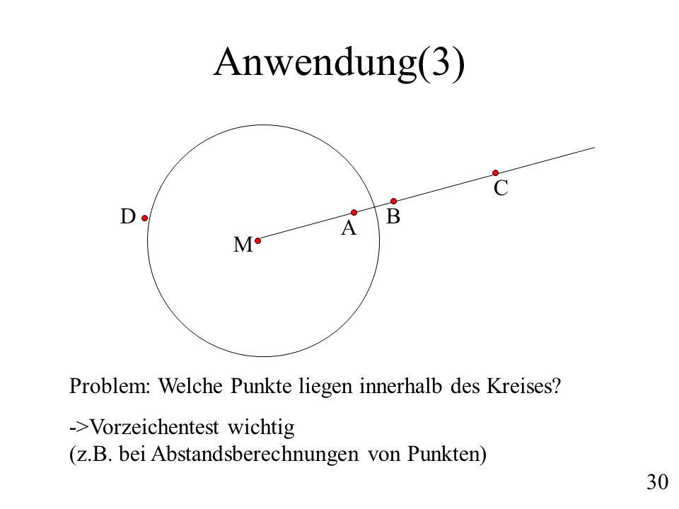 Anwendung(3) A B C Problem: Welche Punkte liegen innerhalb des Kreises? ->Vorzeichentest wichtig (z.B. bei Abstandsberechnungen von Punkten) 30 D M