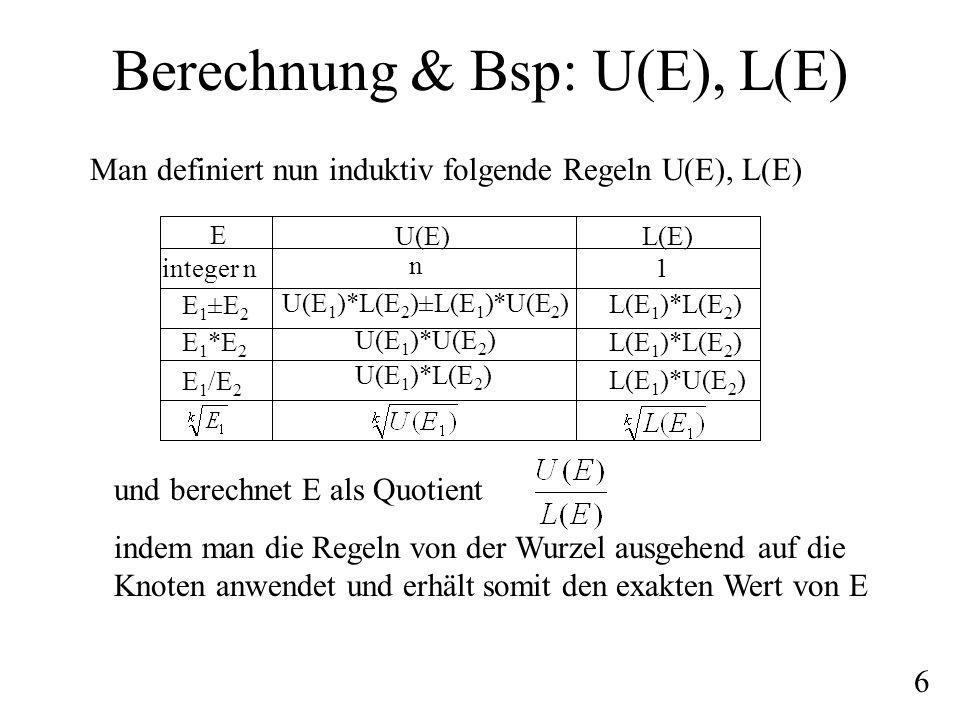 Berechnung & Bsp: U(E), L(E) Man definiert nun induktiv folgende Regeln U(E), L(E) E integer n E 1 ±E 2 E 1 *E 2 E 1 /E 2 U(E) n U(E 1 )*L(E 2 )±L(E 1