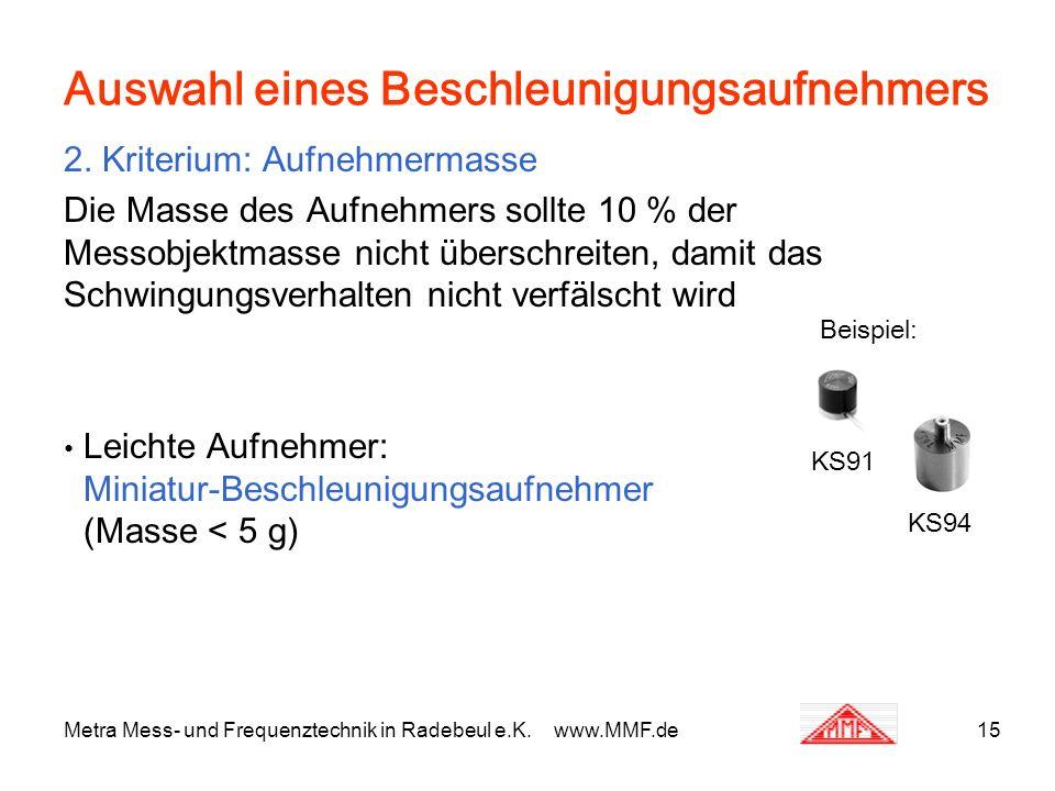 Metra Mess- und Frequenztechnik in Radebeul e.K. www.MMF.de15 Auswahl eines Beschleunigungsaufnehmers 2. Kriterium: Aufnehmermasse Die Masse des Aufne
