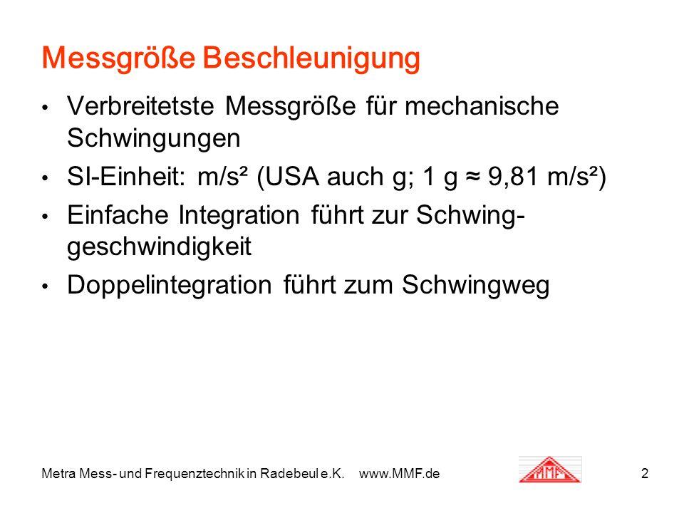 Messgröße Beschleunigung Verbreitetste Messgröße für mechanische Schwingungen SI-Einheit: m/s² (USA auch g; 1 g 9,81 m/s²) Einfache Integration führt