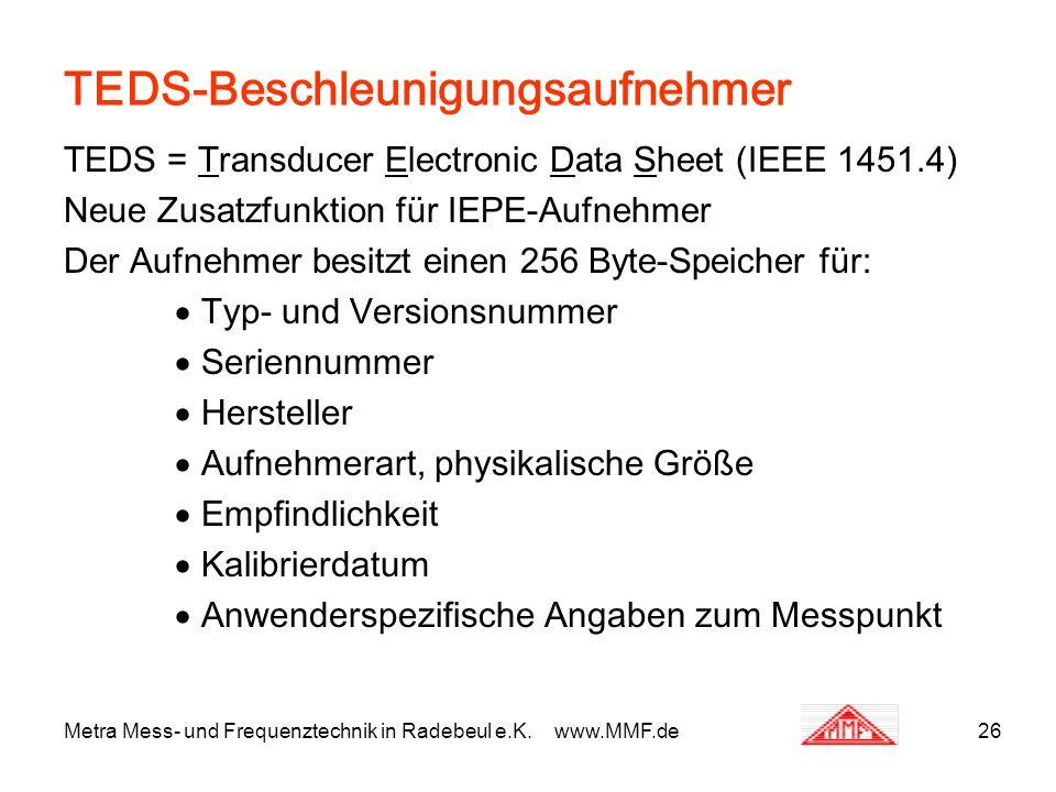 Metra Mess- und Frequenztechnik in Radebeul e.K. www.MMF.de26 TEDS-Beschleunigungsaufnehmer TEDS = Transducer Electronic Data Sheet (IEEE 1451.4) Neue