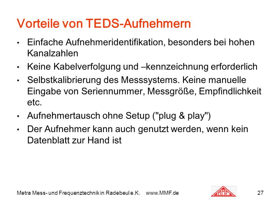 Metra Mess- und Frequenztechnik in Radebeul e.K. www.MMF.de27 Vorteile von TEDS-Aufnehmern Einfache Aufnehmeridentifikation, besonders bei hohen Kanal