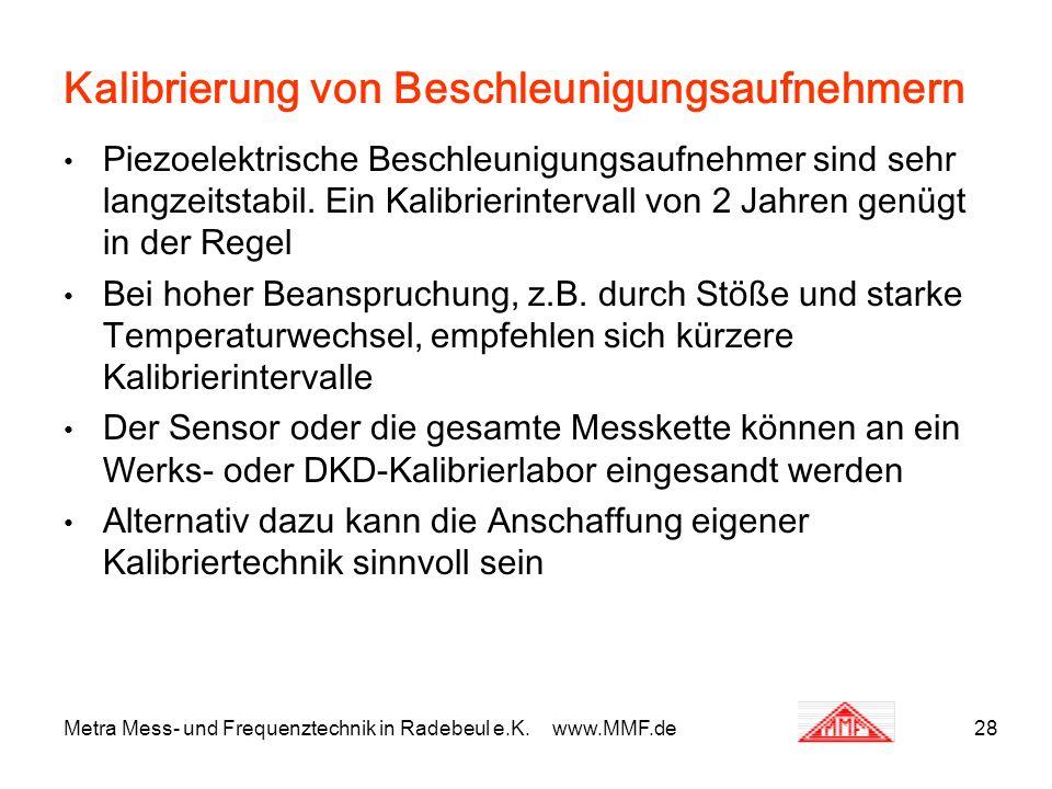 Metra Mess- und Frequenztechnik in Radebeul e.K. www.MMF.de28 Kalibrierung von Beschleunigungsaufnehmern Piezoelektrische Beschleunigungsaufnehmer sin