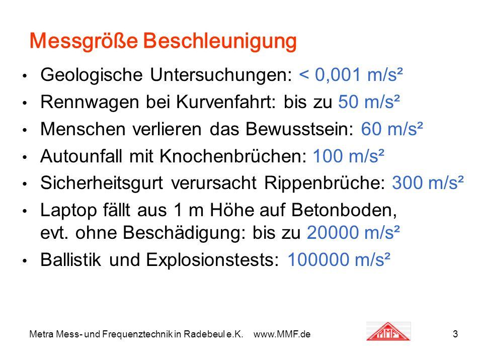 Messgröße Beschleunigung Geologische Untersuchungen: < 0,001 m/s² Rennwagen bei Kurvenfahrt: bis zu 50 m/s² Menschen verlieren das Bewusstsein: 60 m/s