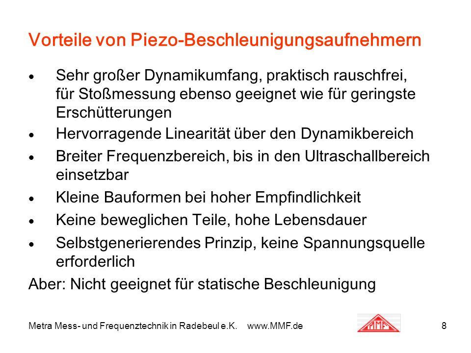 Metra Mess- und Frequenztechnik in Radebeul e.K. www.MMF.de8 Vorteile von Piezo-Beschleunigungsaufnehmern Sehr großer Dynamikumfang, praktisch rauschf