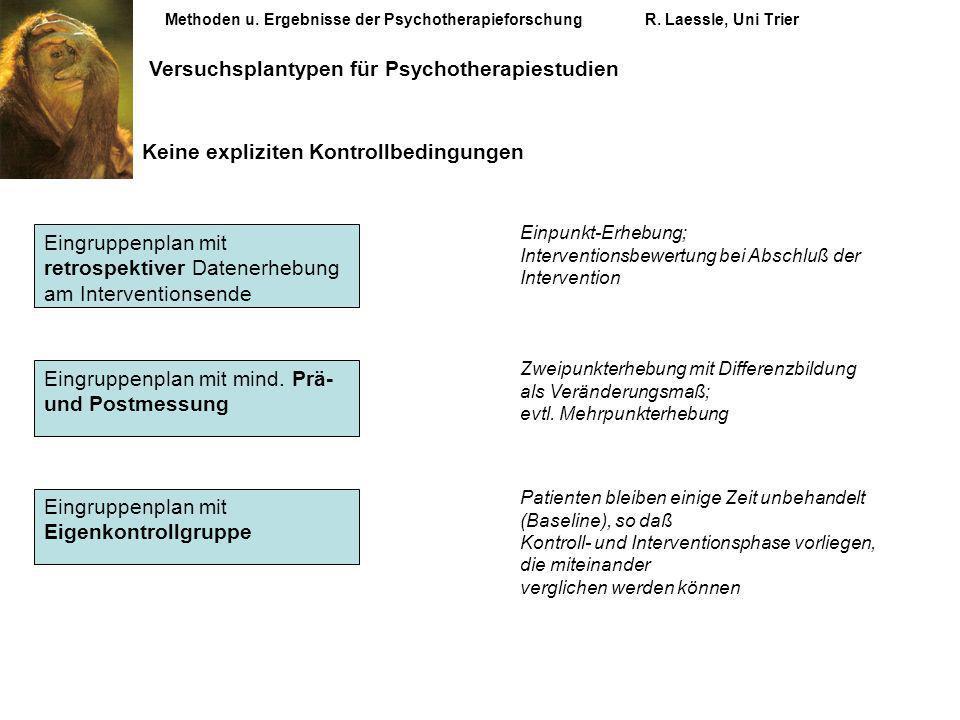 Methoden u. Ergebnisse der PsychotherapieforschungR. Laessle, Uni Trier Versuchsplantypen für Psychotherapiestudien Keine expliziten Kontrollbedingung