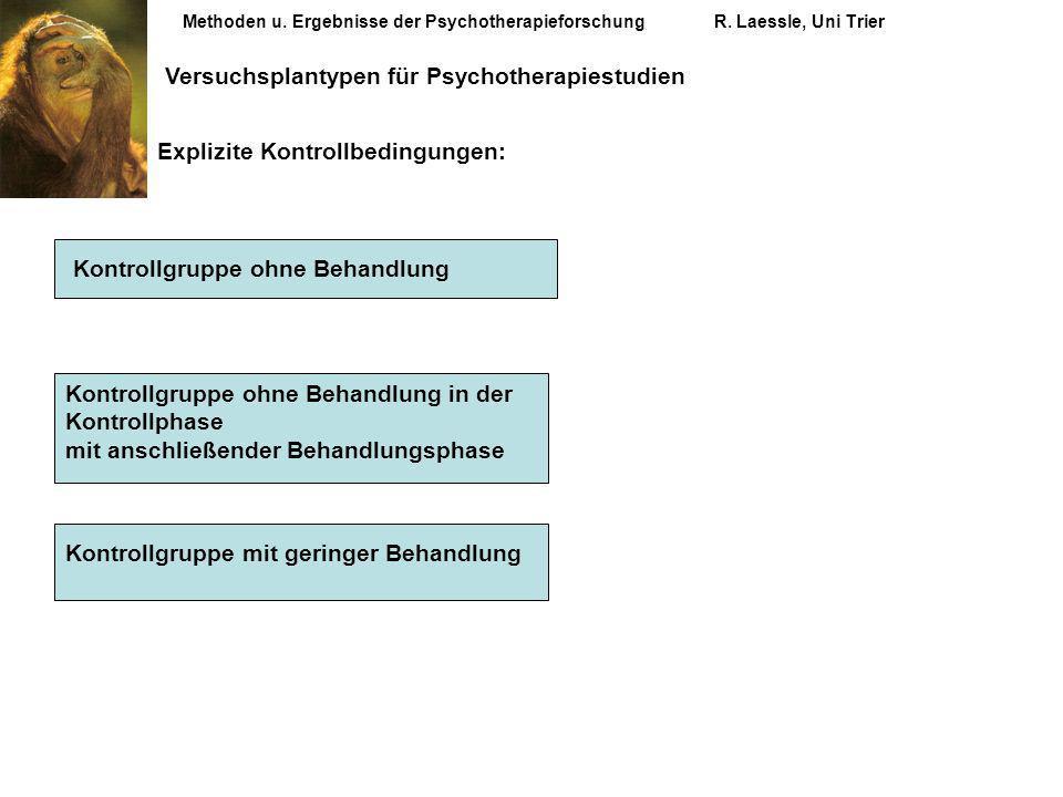 Methoden u. Ergebnisse der PsychotherapieforschungR. Laessle, Uni Trier Versuchsplantypen für Psychotherapiestudien Explizite Kontrollbedingungen: Kon