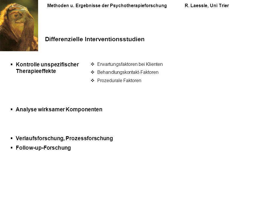 Methoden u. Ergebnisse der PsychotherapieforschungR. Laessle, Uni Trier Differenzielle Interventionsstudien Kontrolle unspezifischer Therapieeffekte A