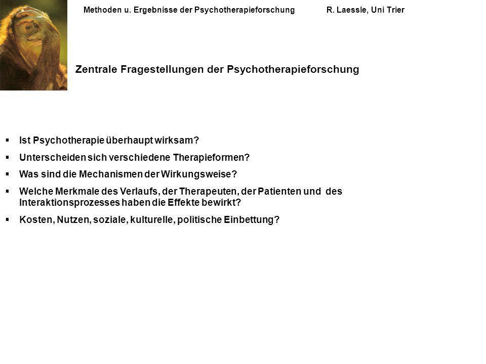 Zentrale Fragestellungen der Psychotherapieforschung Ist Psychotherapie überhaupt wirksam? Unterscheiden sich verschiedene Therapieformen? Was sind di