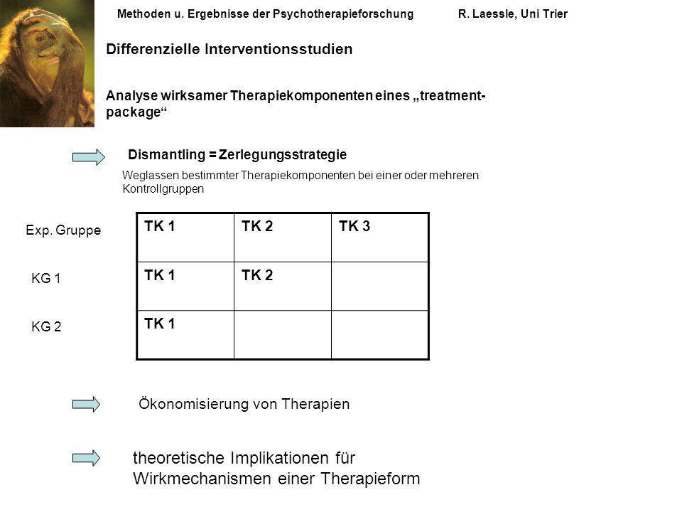 Methoden u. Ergebnisse der PsychotherapieforschungR. Laessle, Uni Trier Differenzielle Interventionsstudien Analyse wirksamer Therapiekomponenten eine