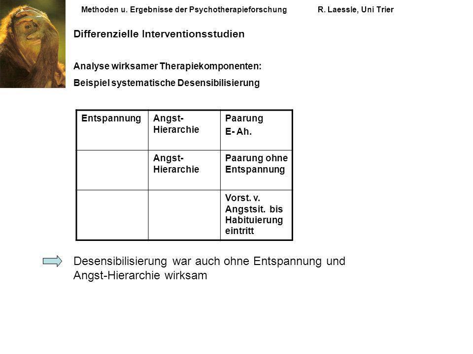 Methoden u. Ergebnisse der PsychotherapieforschungR. Laessle, Uni Trier Differenzielle Interventionsstudien Analyse wirksamer Therapiekomponenten: Bei