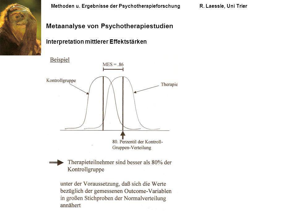 Methoden u. Ergebnisse der PsychotherapieforschungR. Laessle, Uni Trier Metaanalyse von Psychotherapiestudien Interpretation mittlerer Effektstärken