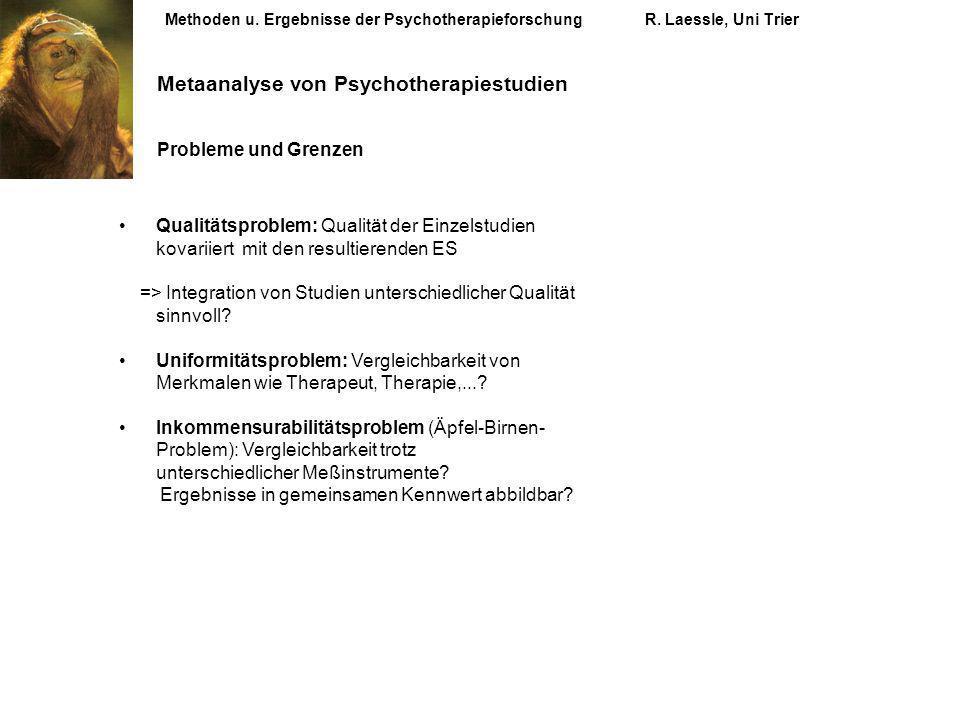 Methoden u. Ergebnisse der PsychotherapieforschungR. Laessle, Uni Trier Metaanalyse von Psychotherapiestudien Probleme und Grenzen Qualitätsproblem: Q