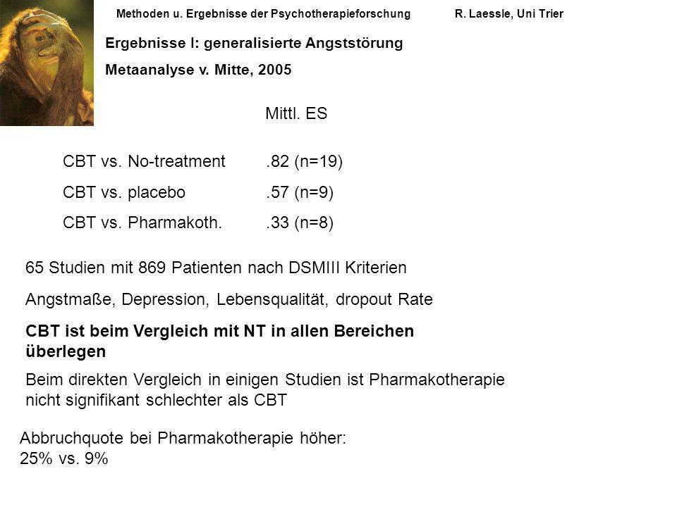 Methoden u. Ergebnisse der PsychotherapieforschungR. Laessle, Uni Trier Ergebnisse I: generalisierte Angststörung Metaanalyse v. Mitte, 2005 CBT vs. N