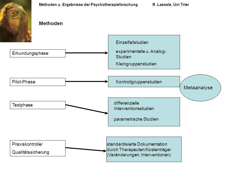 Methoden u. Ergebnisse der PsychotherapieforschungR. Laessle, Uni Trier Erkundungsphase Einzelfallstudien experimentelle u. Analog- Studien Kleingrupp