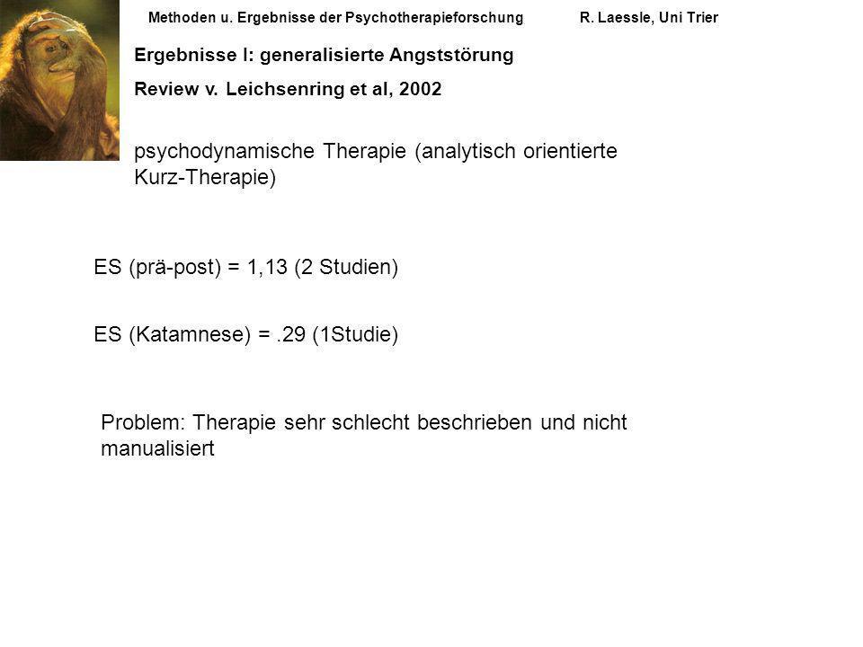 Methoden u. Ergebnisse der PsychotherapieforschungR. Laessle, Uni Trier Ergebnisse I: generalisierte Angststörung Review v. Leichsenring et al, 2002 p