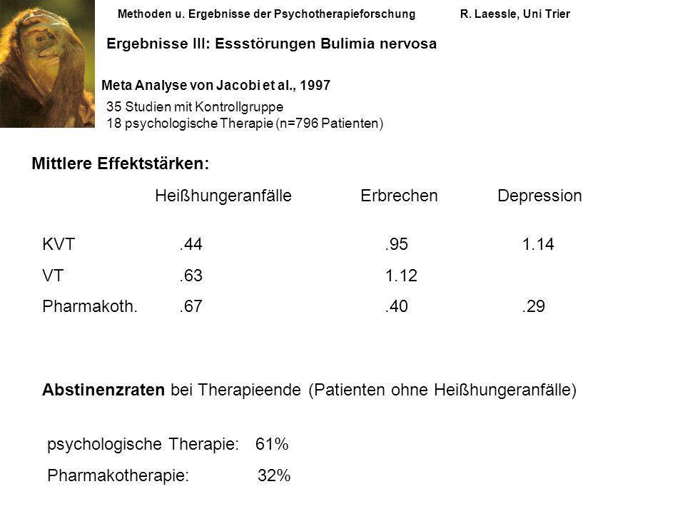 Methoden u. Ergebnisse der PsychotherapieforschungR. Laessle, Uni Trier Ergebnisse III: Essstörungen Bulimia nervosa Meta Analyse von Jacobi et al., 1