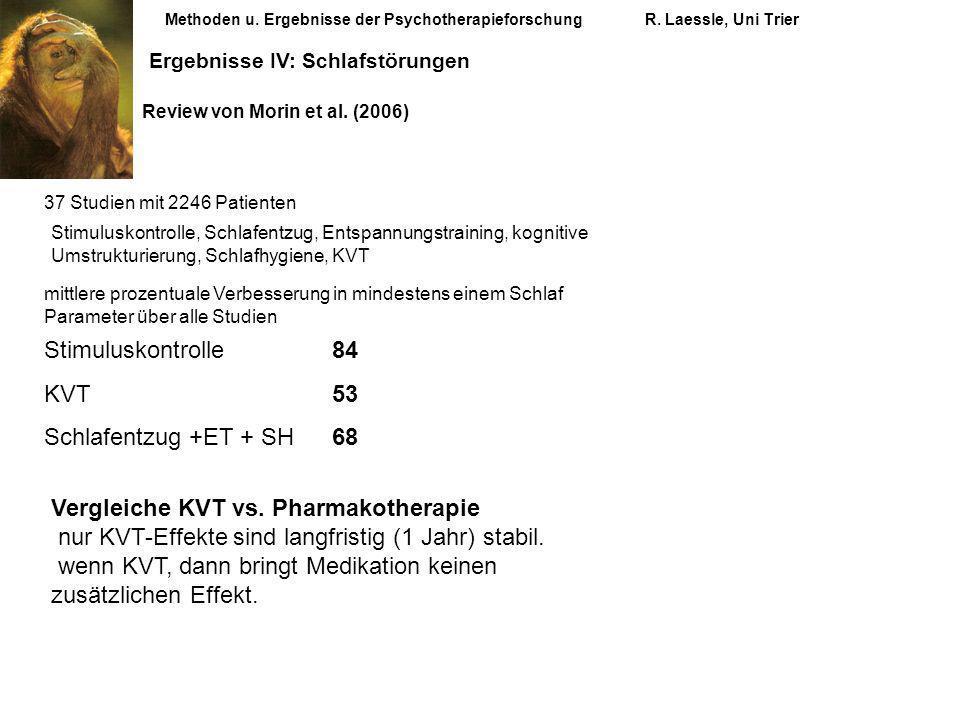 Methoden u. Ergebnisse der PsychotherapieforschungR. Laessle, Uni Trier Ergebnisse IV: Schlafstörungen Review von Morin et al. (2006) 37 Studien mit 2