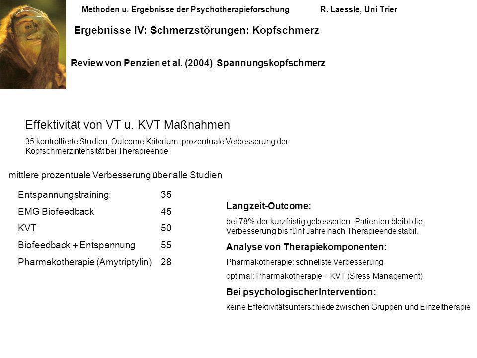 Methoden u. Ergebnisse der PsychotherapieforschungR. Laessle, Uni Trier Ergebnisse IV: Schmerzstörungen: Kopfschmerz Review von Penzien et al. (2004)