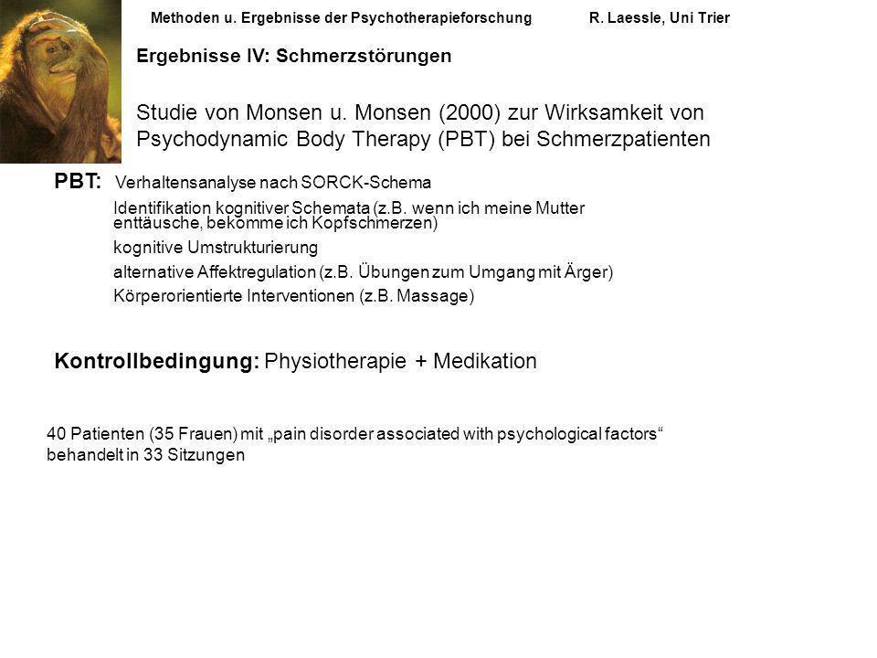 Methoden u. Ergebnisse der PsychotherapieforschungR. Laessle, Uni Trier Ergebnisse IV: Schmerzstörungen Studie von Monsen u. Monsen (2000) zur Wirksam