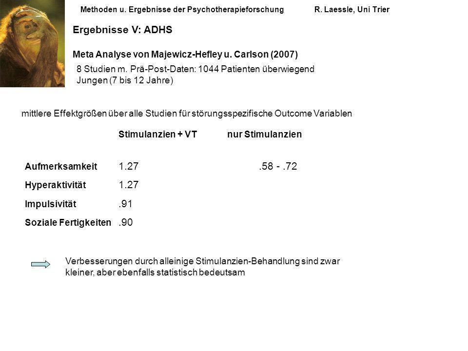 Methoden u. Ergebnisse der PsychotherapieforschungR. Laessle, Uni Trier Ergebnisse V: ADHS Meta Analyse von Majewicz-Hefley u. Carlson (2007) mittlere